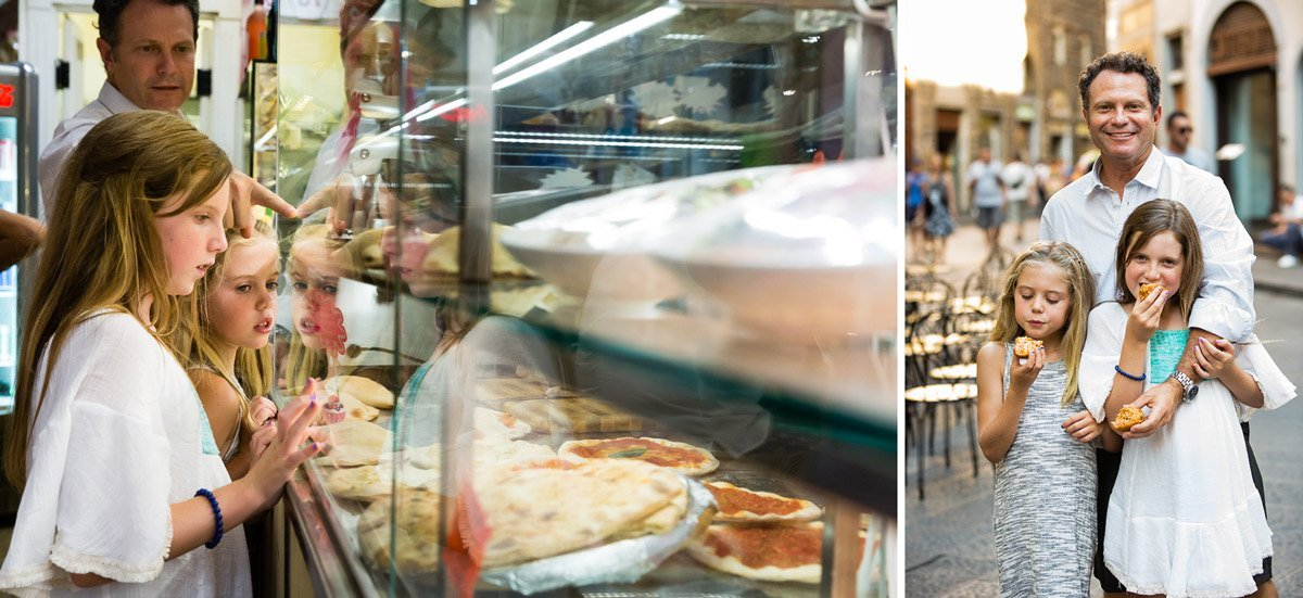 having some street food in Florence, Italy