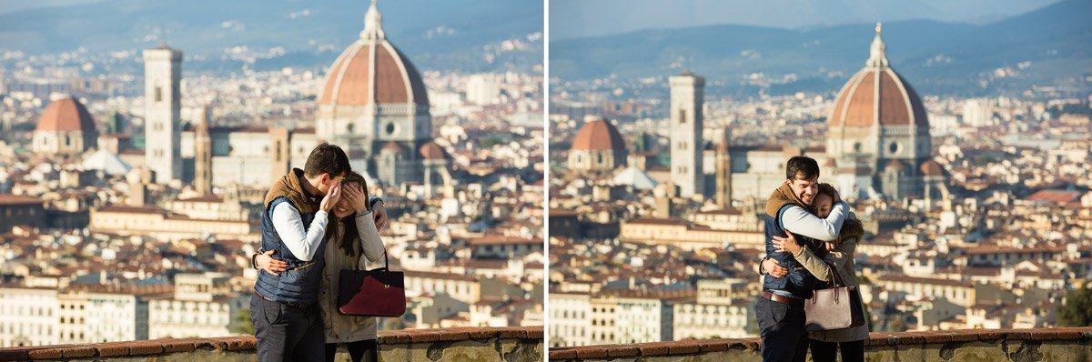 Surprise romantic wedding proposal in Florence