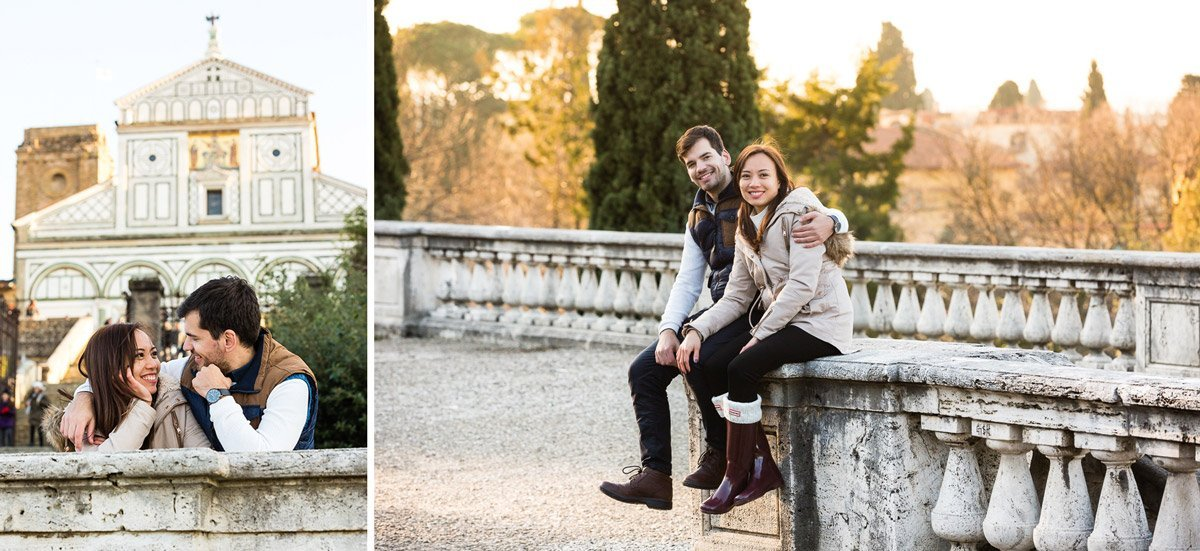 young couple visiting Florence in winter