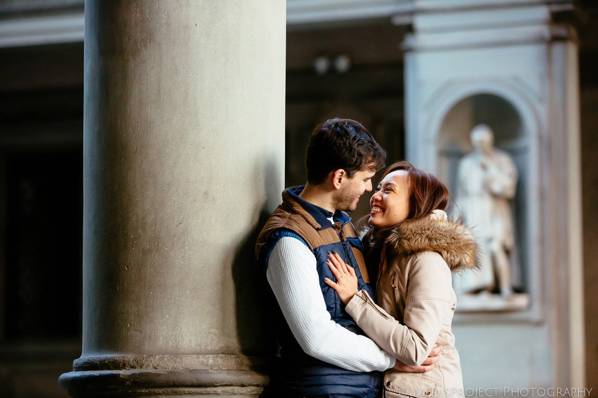 couple enjoying being together in Florence, Italy
