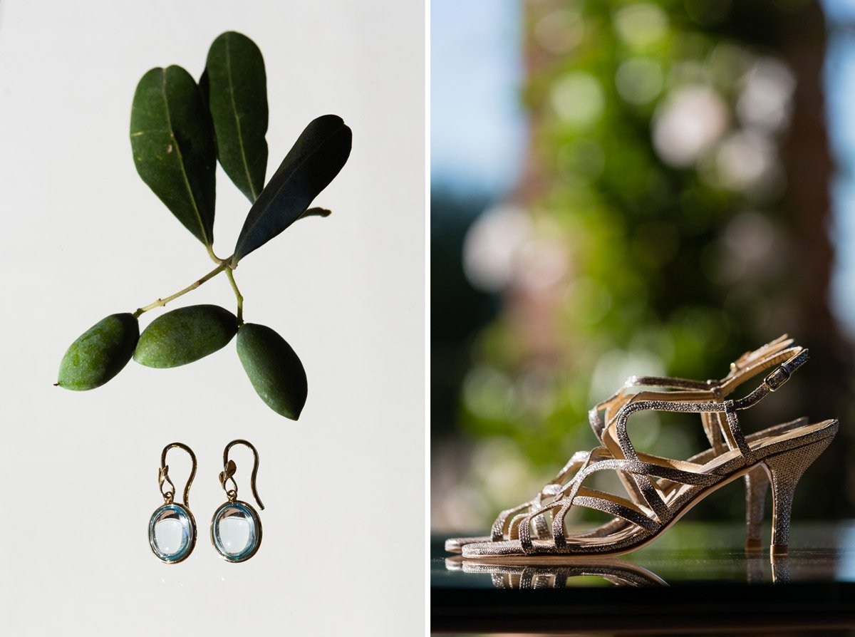 Bride's earrings, Tiffany earrings with olive leaves