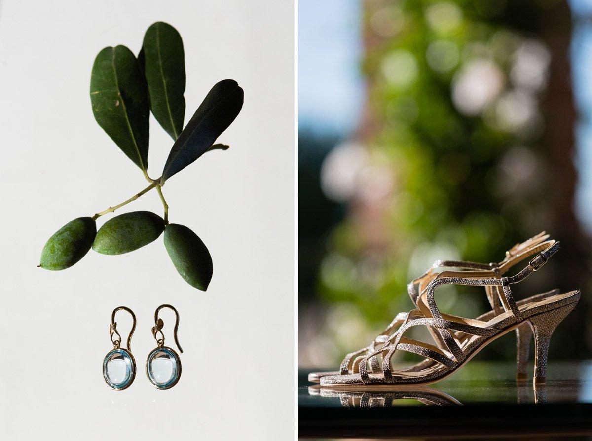 Bride's earrings, Tiffany earrings with olive leaves