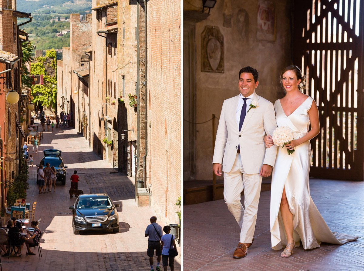 Bride and groom coming in the car to municipality of Certaldo Alto