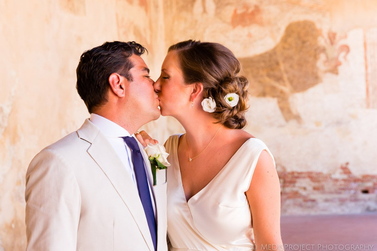 Sweet kiss of a husband and wife
