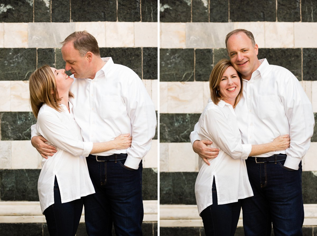 mid-age couple posing embraced