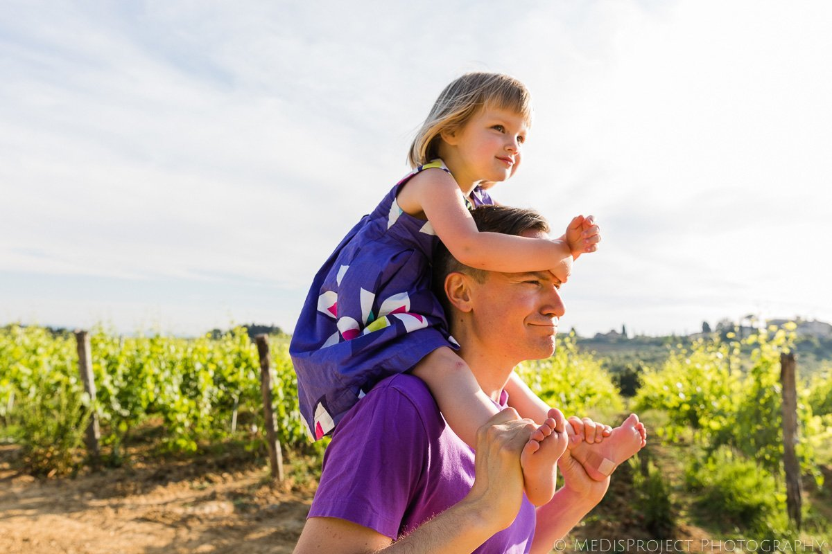 father brings his daughter on the shoulders
