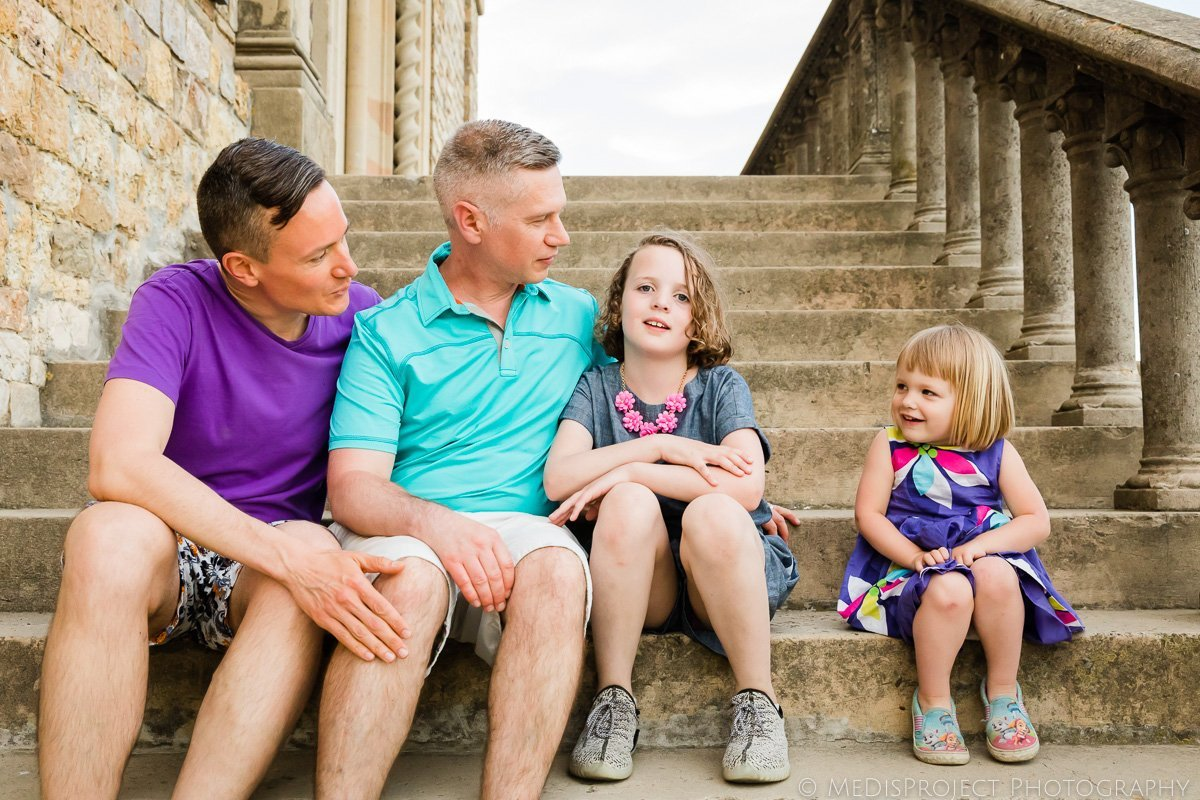 lgbt family posing for a funny photo