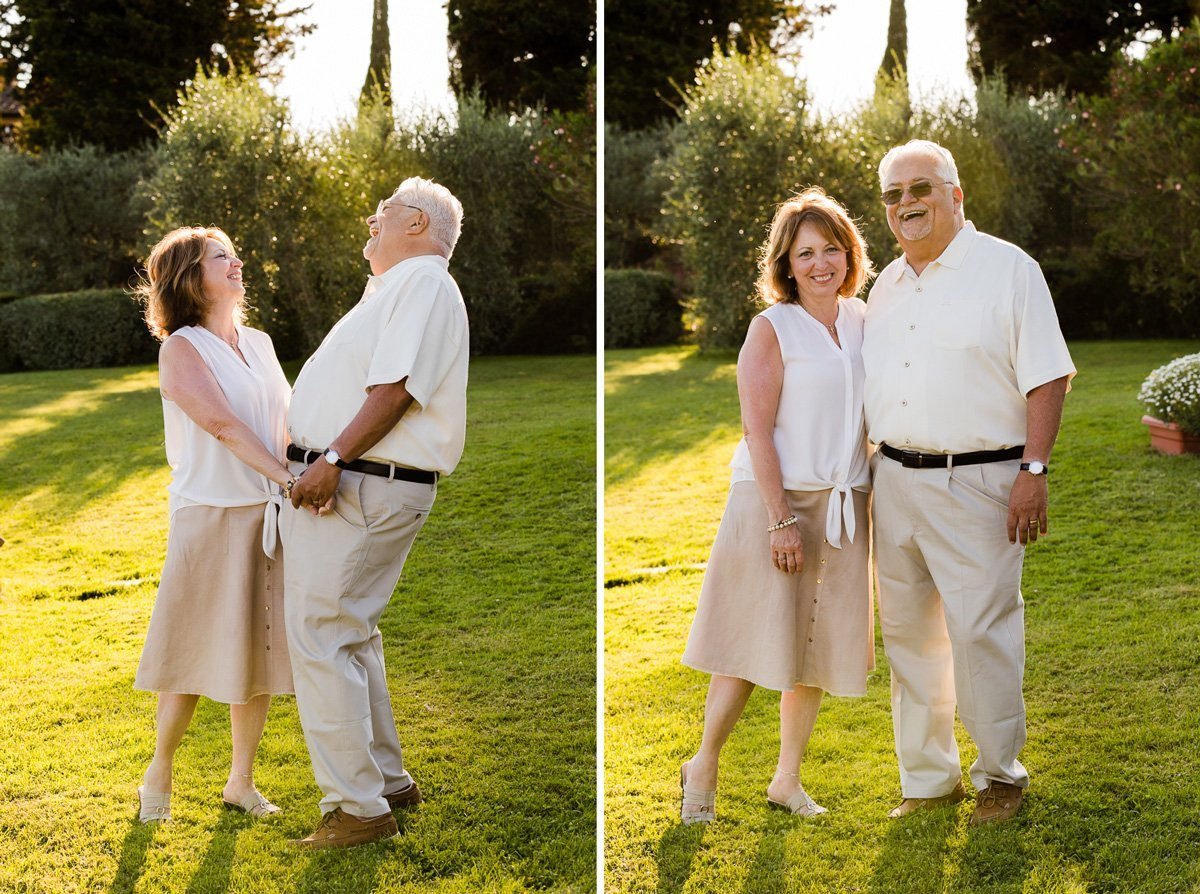 grandparents posing together for a family photo session in Tuscany