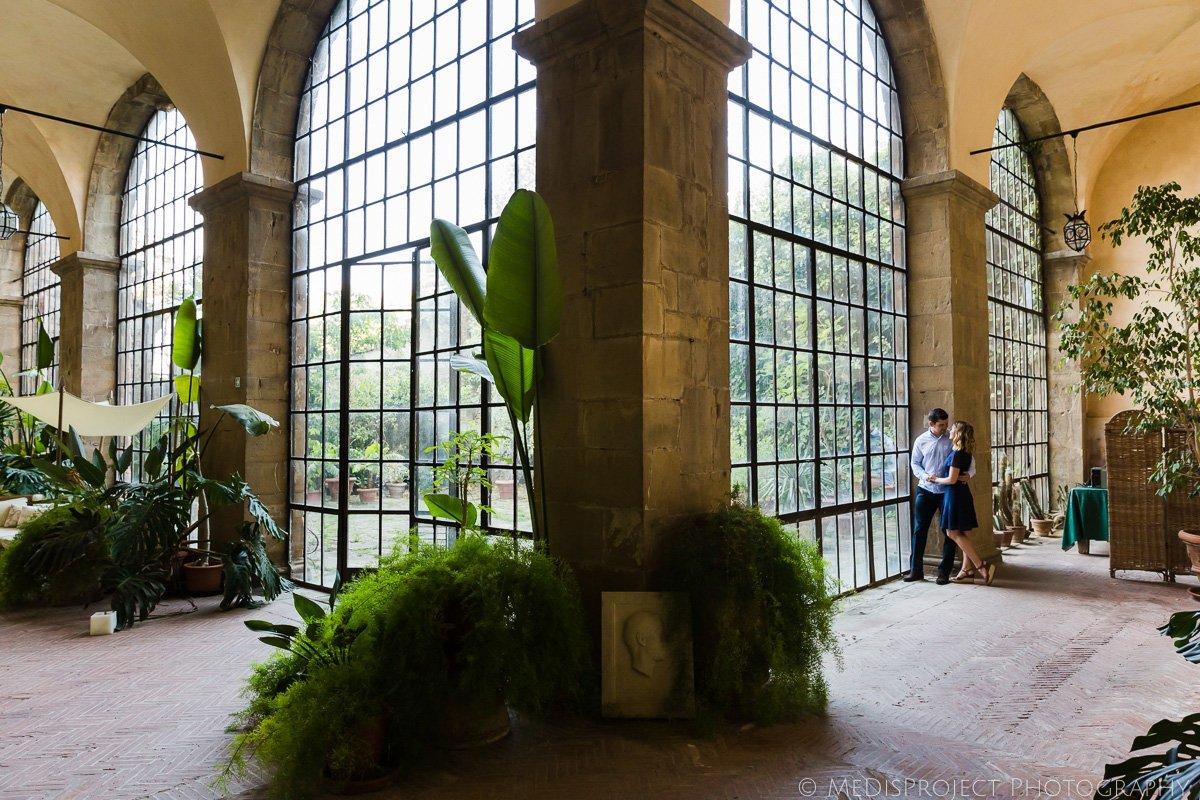 a couple exploring insides of Hotel Torre di Bellosguardo