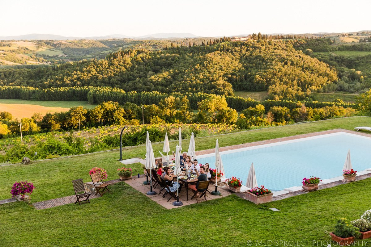 Dinner with the Tuscany landscape view