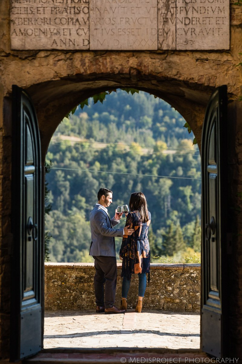 surprise marriage proposal at Paneretta Castle in Tuscany