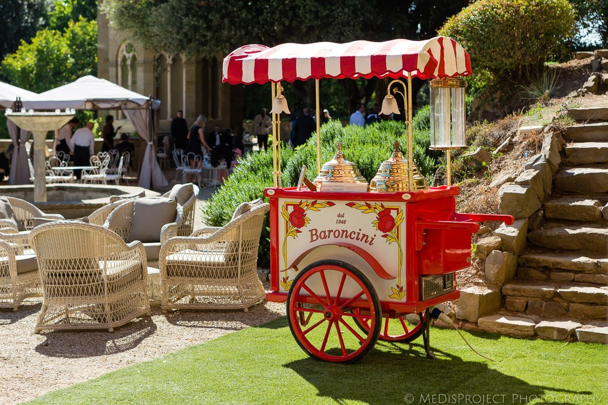 ice cream cart by Gelateria Baroncini for a wedding in Florence
