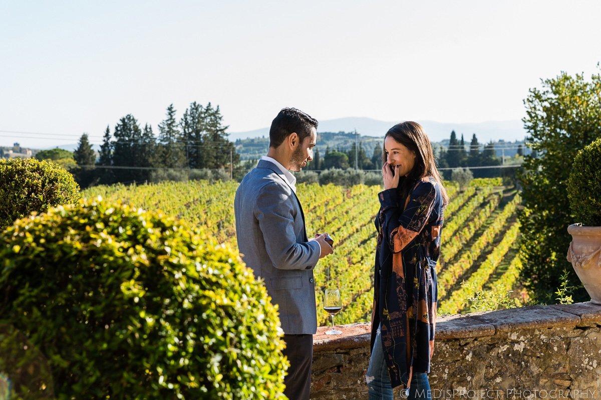 surprise marriage proposal at Paneretta Castle in Chianti