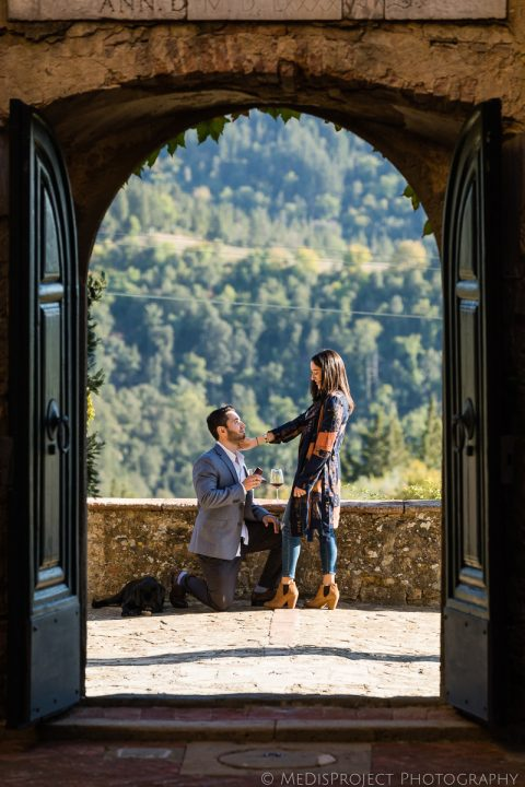 surprise marriage proposal at Paneretta Castle
