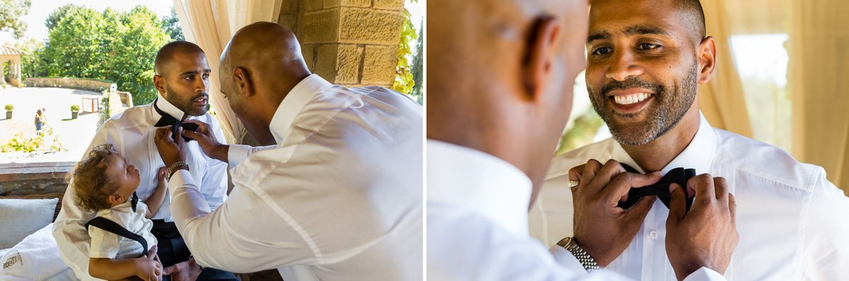handsome groom getting ready at Villa le Fontanelle