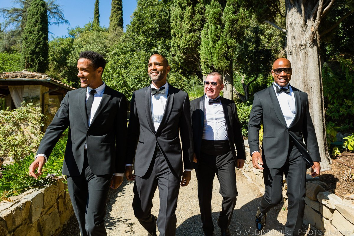 groom and groomsmen wearing tuxedo for a wedding in Florence