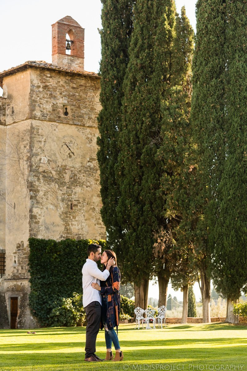 engagement photo shoot at the Paneretta Castle in Chianti