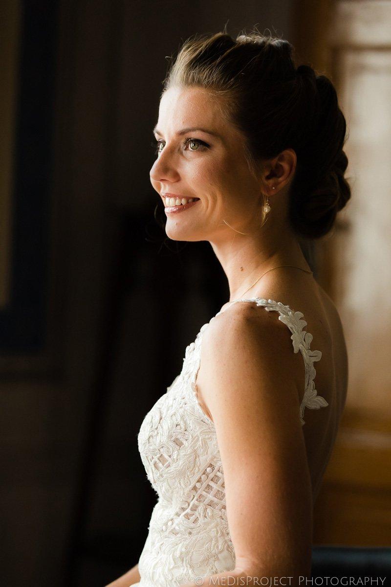 bridal portrait during preparation