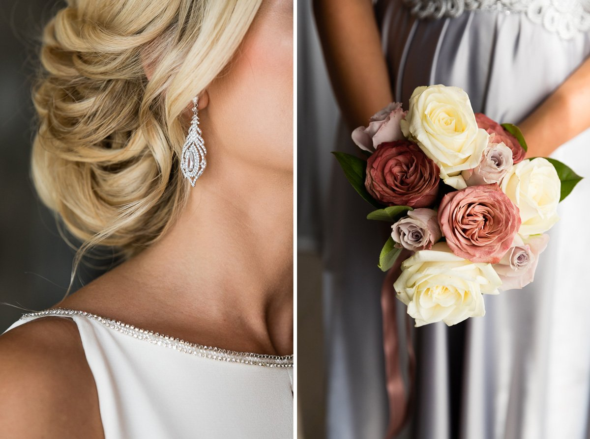 earrings and bridal bouquet