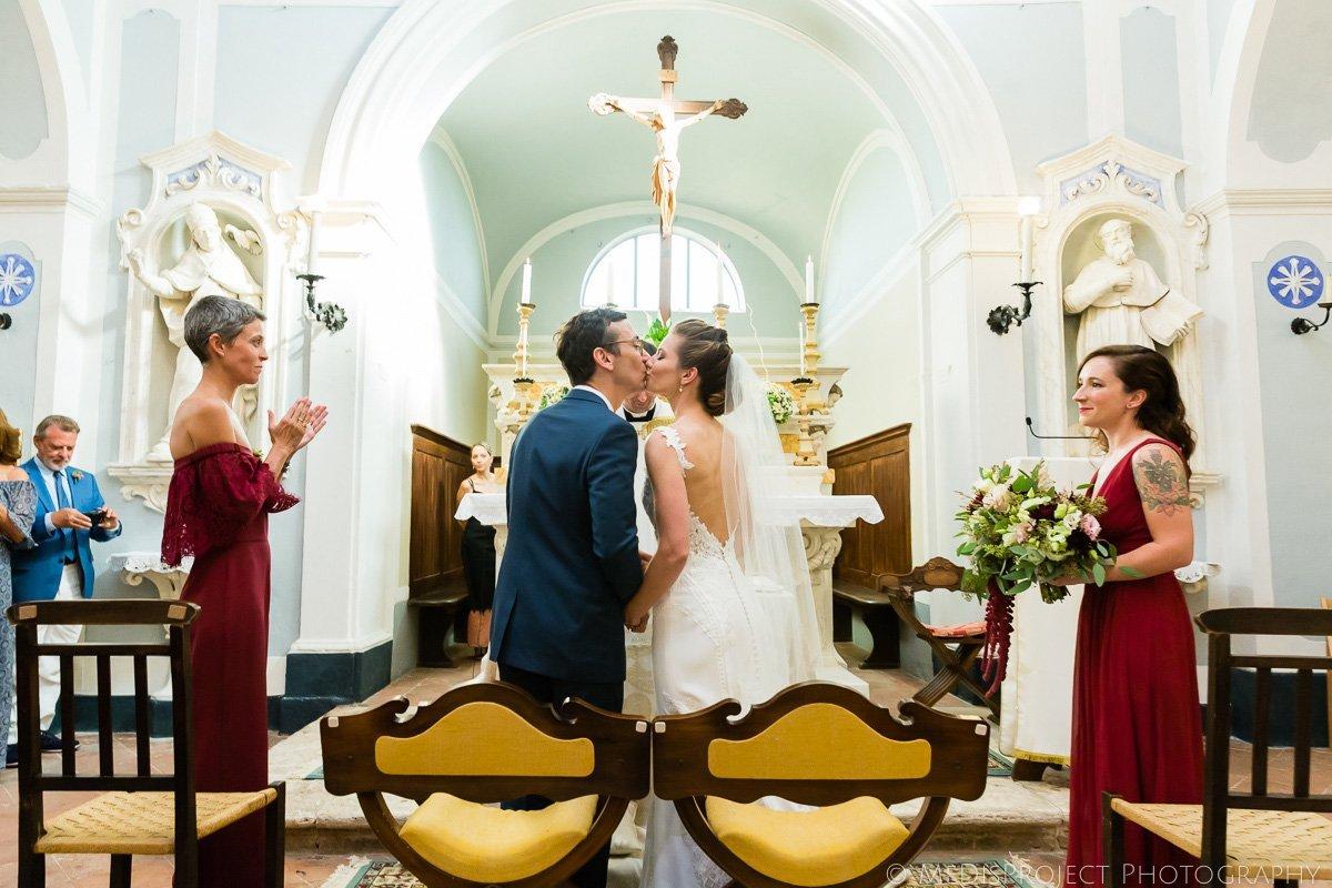 church wedding ceremony kiss