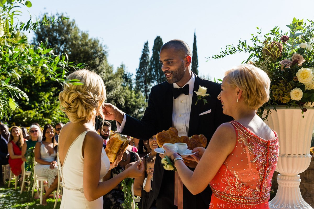 Bulgarian pitka bread ritual during wedding ceremony