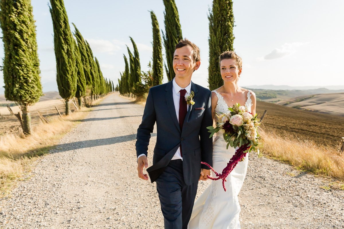 bride and groom's portrait in a typical cypress boulevard in Tuscany