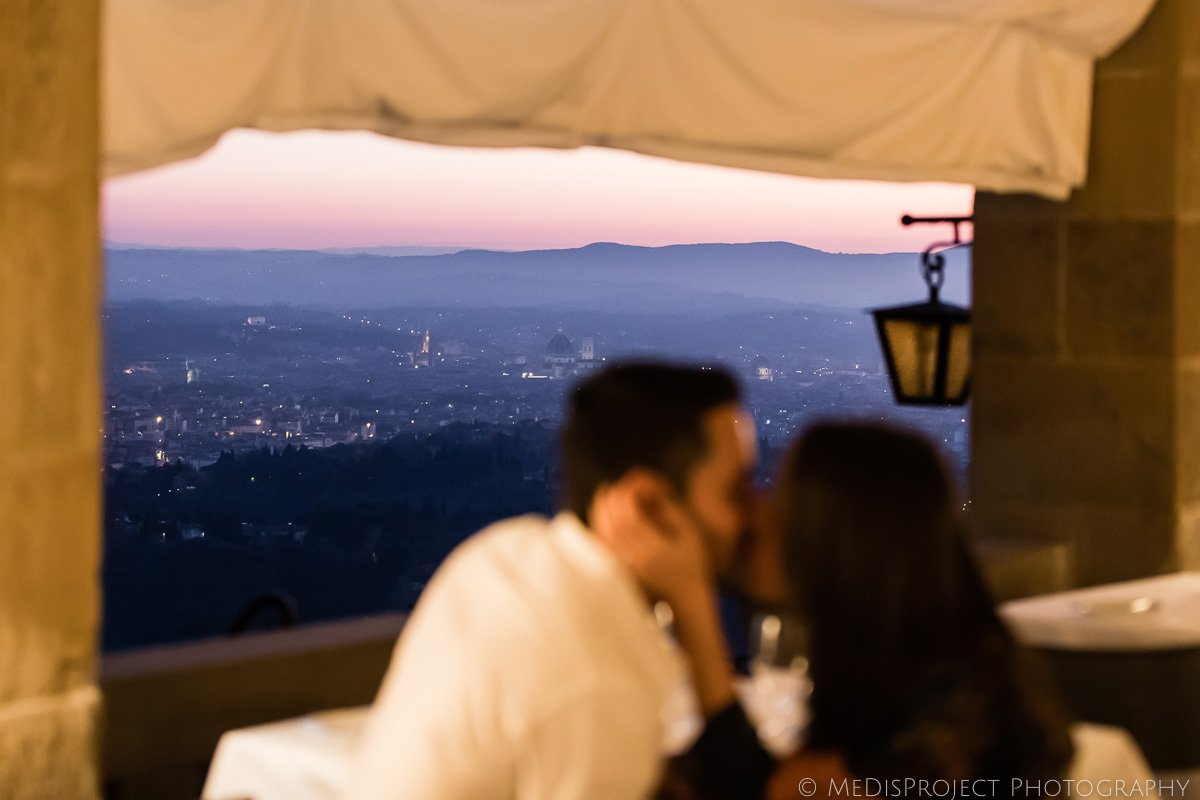panoramic shot of Florence at dusk from Belmond Villa San Michele