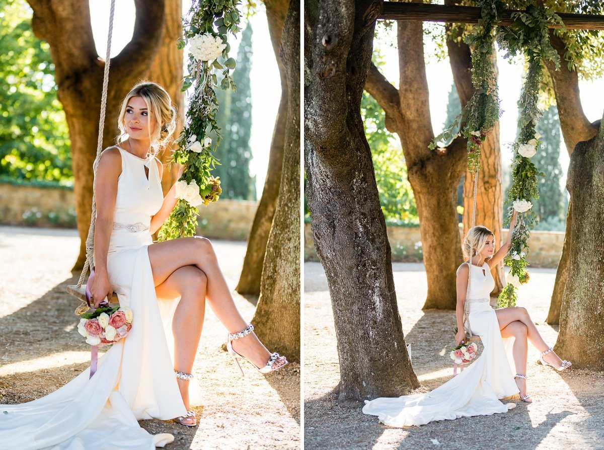 sexy blonde bride on a swing