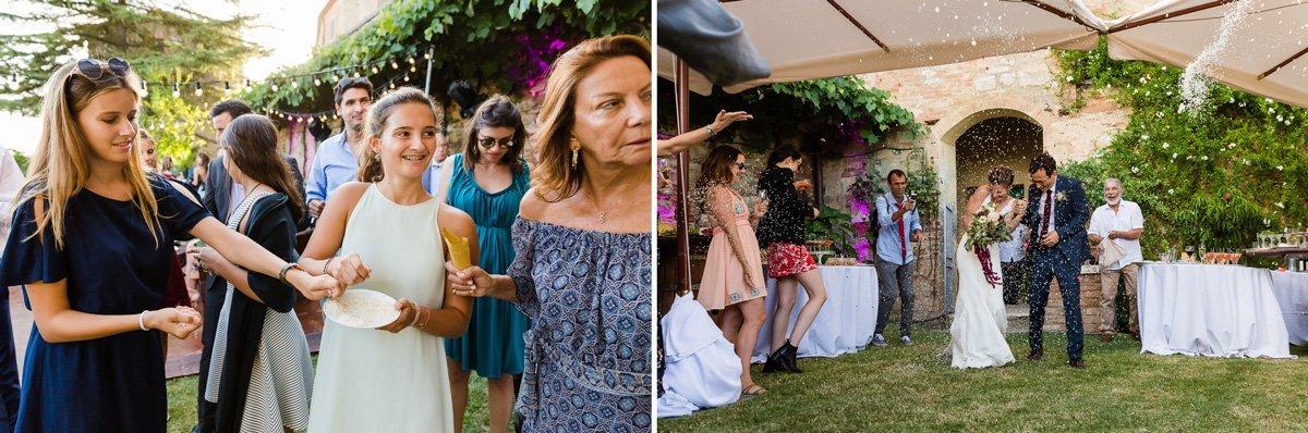 confetti shot during wedding reception in Lucignanello Bandini