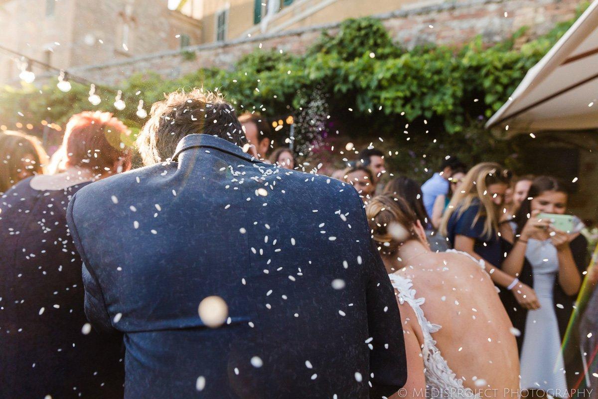 confetti shot during wedding reception