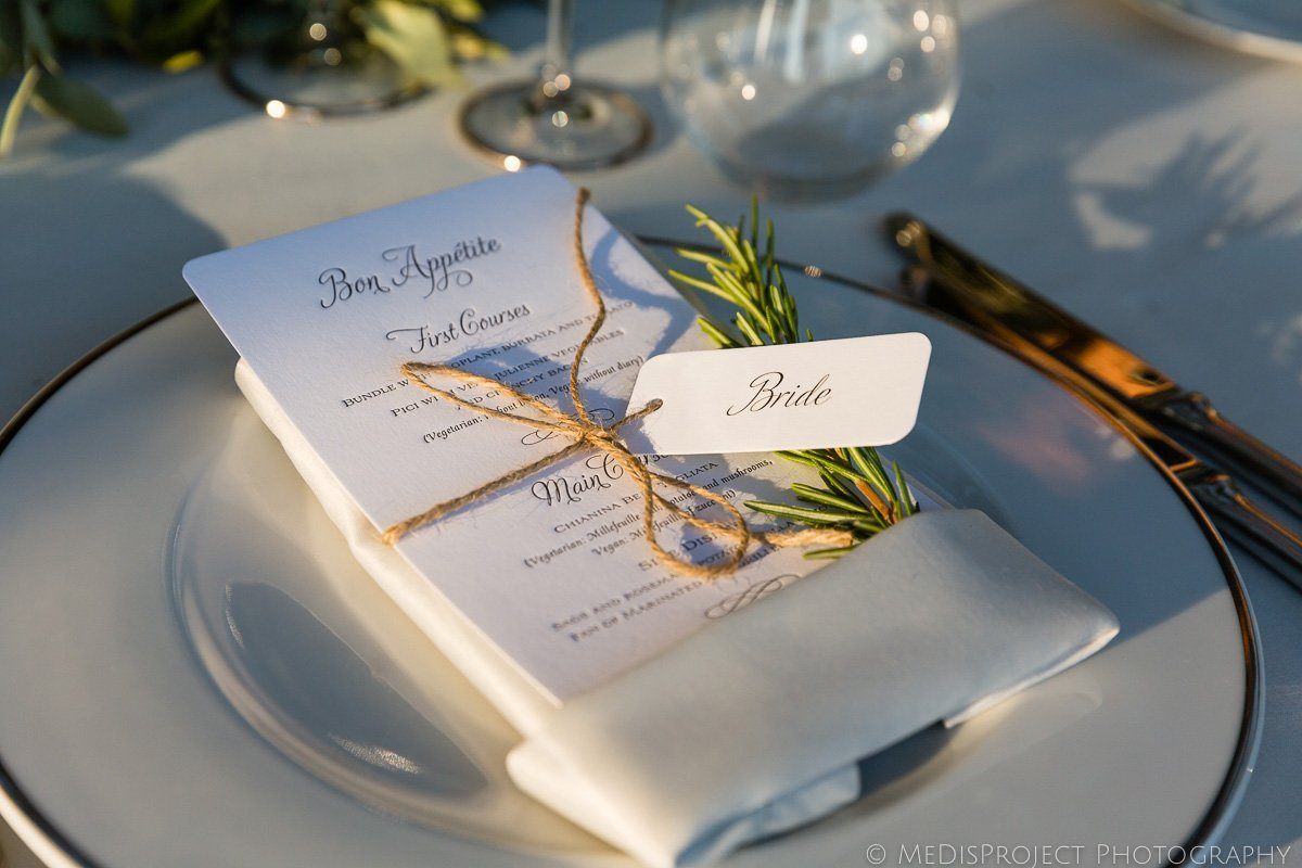 wedding dinner table decorations at villa le Fontanelle Florence