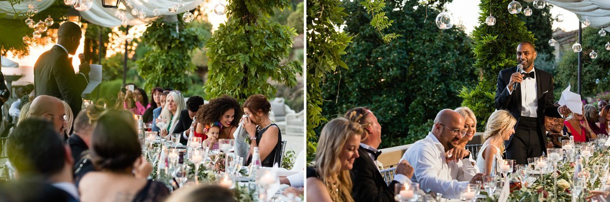 traditional speeches during wedding dinner in Florence