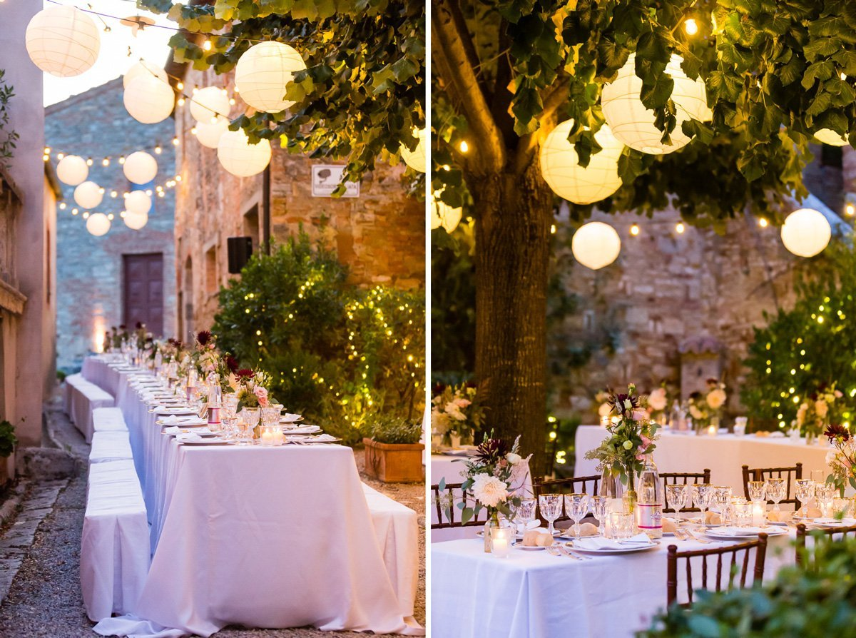 wedding dinner table and dreamy lighting decoration