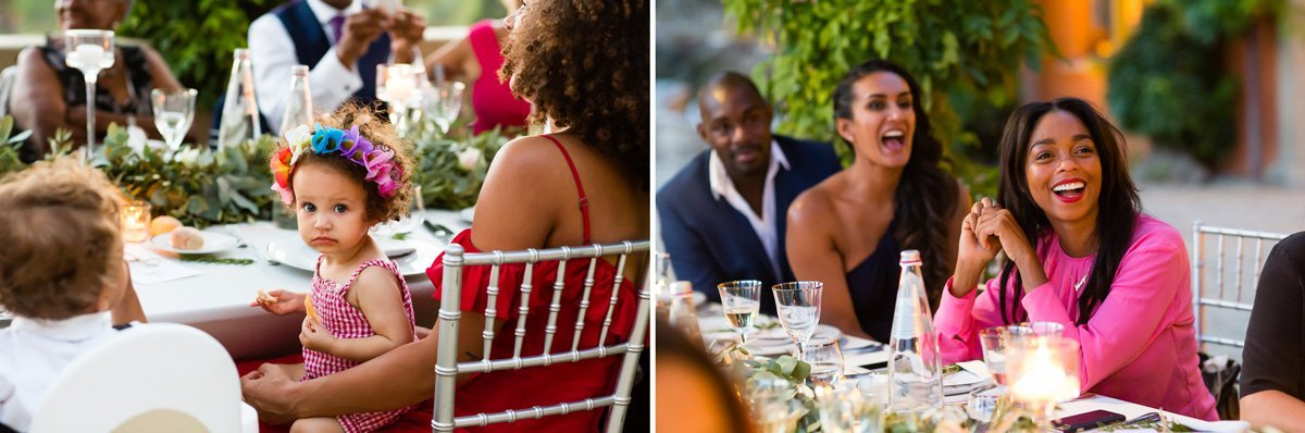 wedding photos during dinner