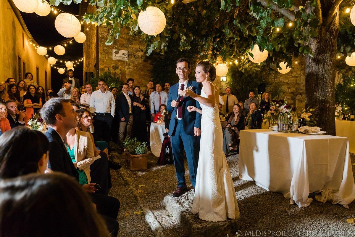 wedding speech during the dinner at borgo lucignanello bandini