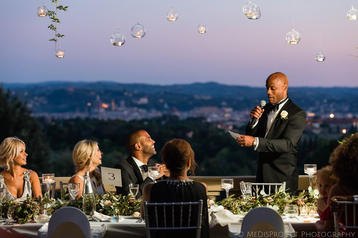 traditional speech during wedding dinner in Florence