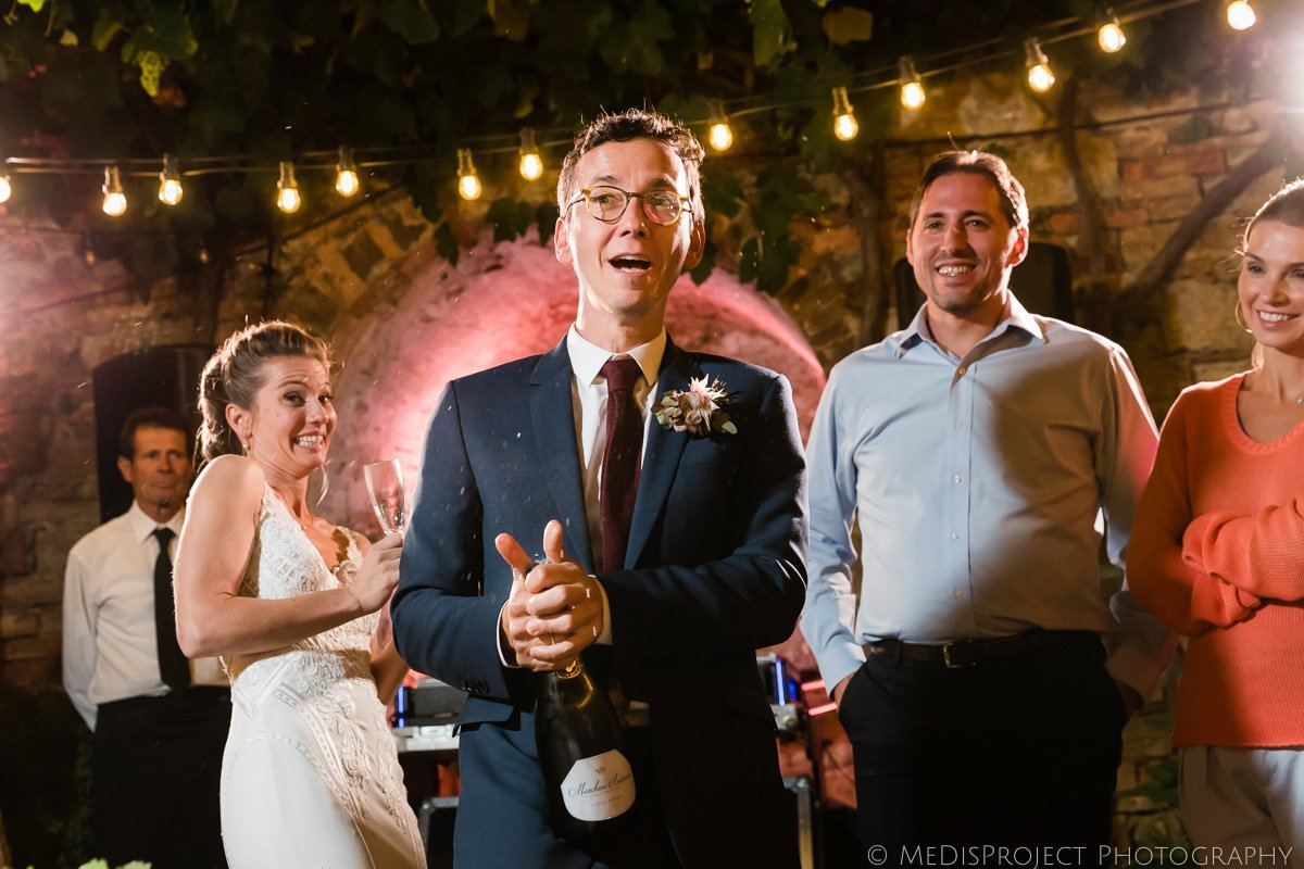 wedding champagne bottle opening