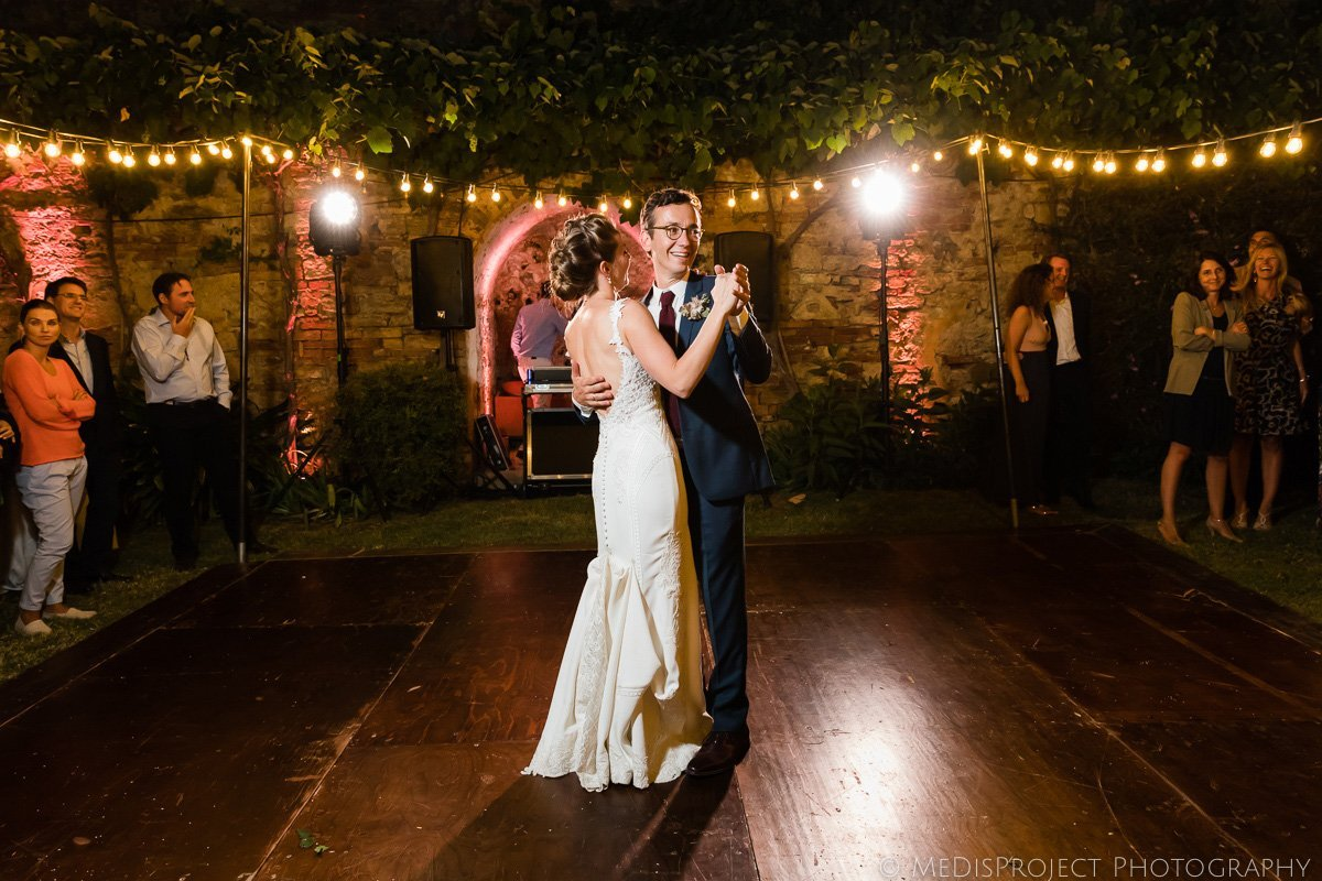 bride and groom's first dance after wedding