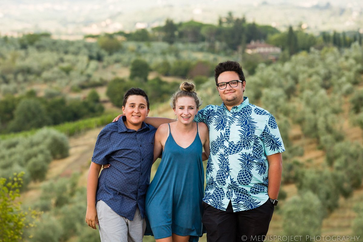 cousins photo portrait while on vacation in Tuscany