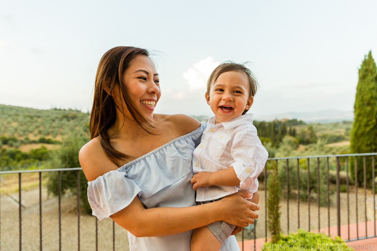 mother and son portrait in a Tuscan villa
