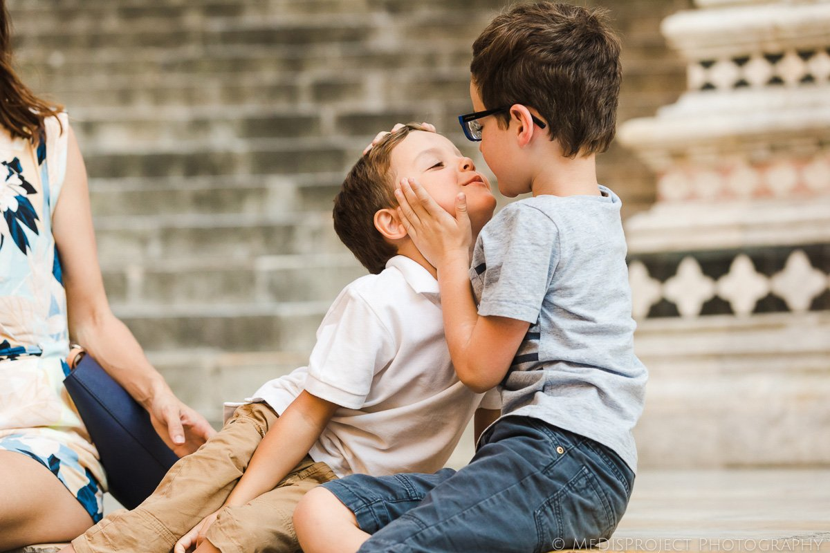 kids playing during a photo session