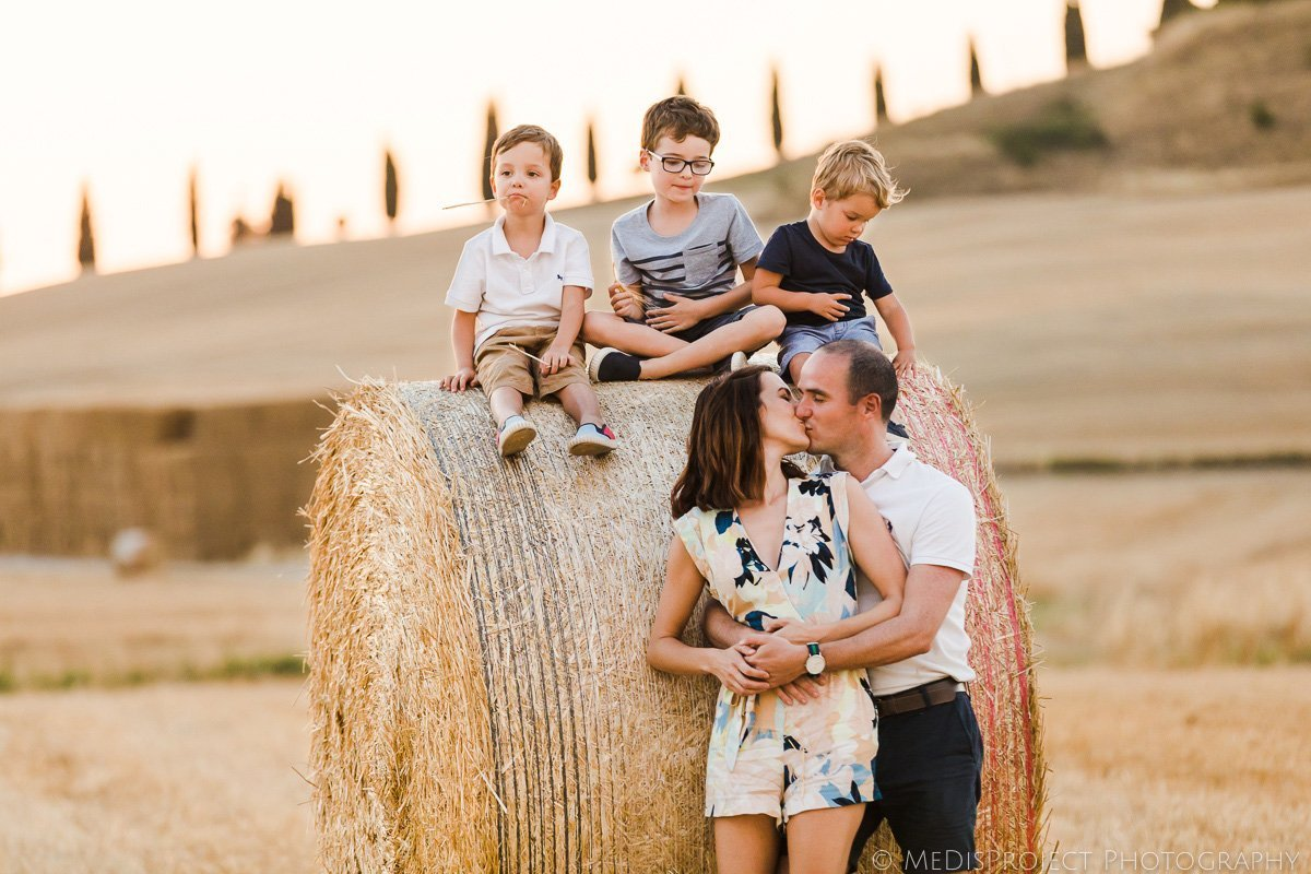 family portrait session in the fields