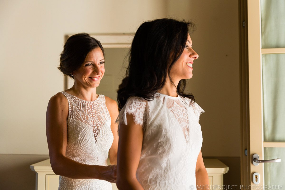 bride and bride getting ready