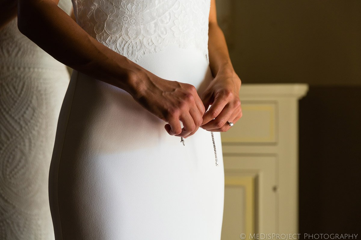 bridal gown front detail