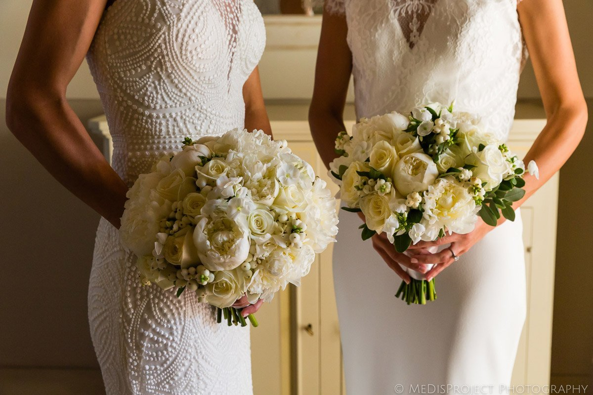 bride and bride wedding bouquet