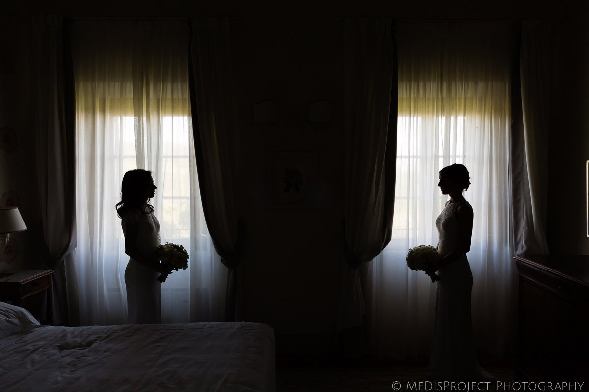 bride and bride silhouettes