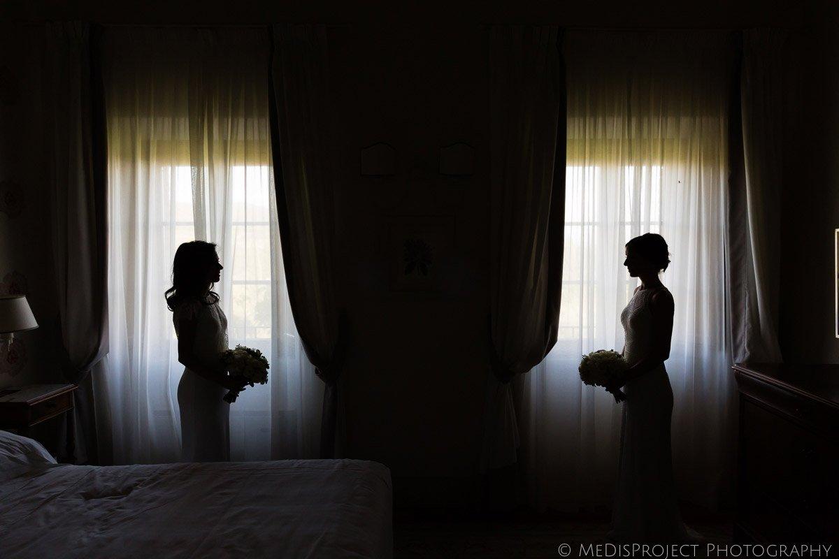 bride and bride silhouettes