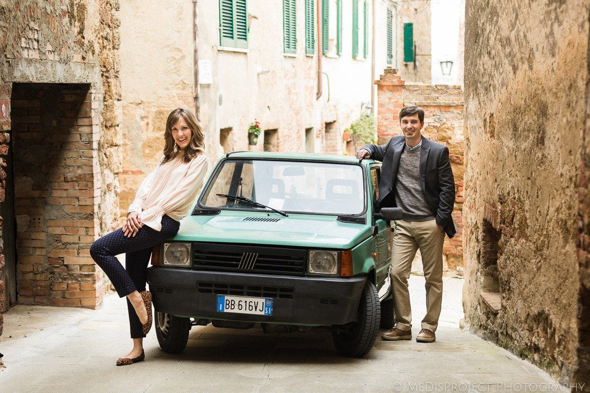 couple's portrait with old Fiat Panda