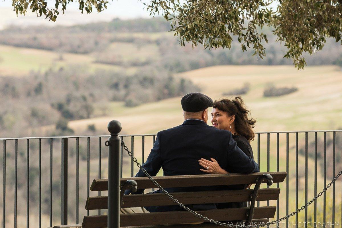 Senior couple celebrating anniversary in Castelmuzio