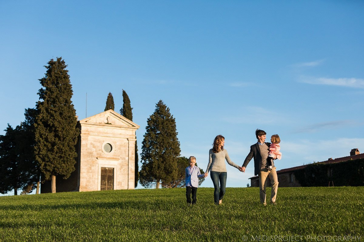 Family photo at Vitaleta Chapel
